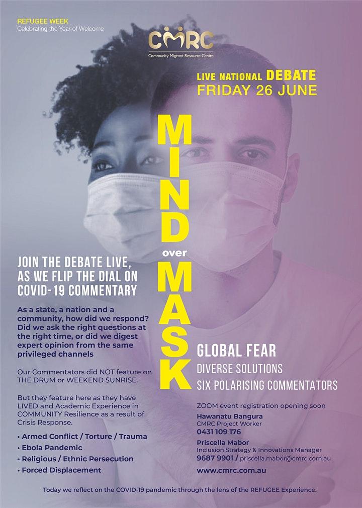 Download CMRC Mind Over Mask Live Nat Debate Flyer 2020